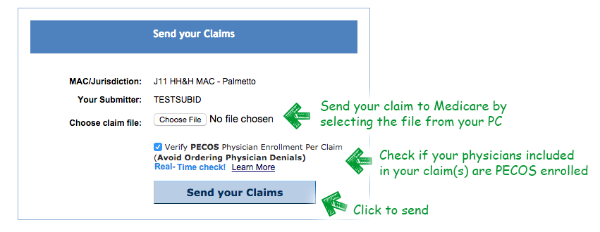 send claims page higlighting what each field means