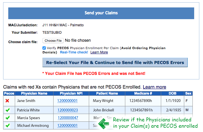 showing where this claim file is not PECOS verified