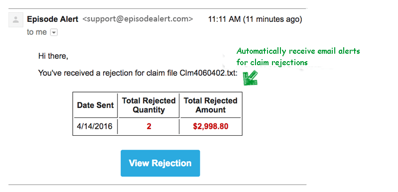 claim rejection email