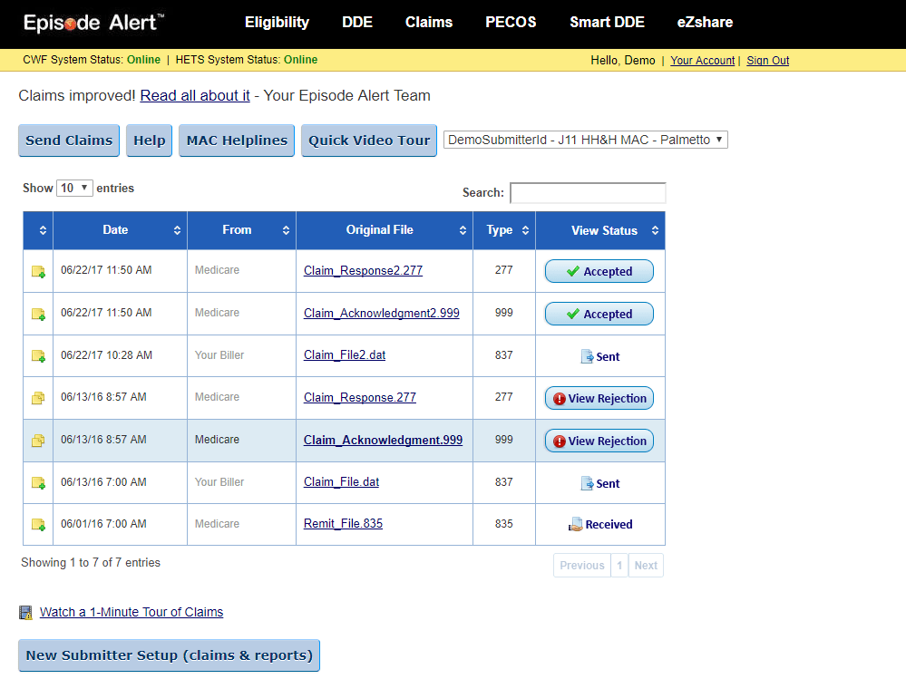 screenshot of epiosde alerts Medicare claims summary report page